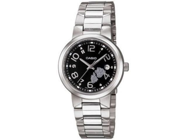 Casio Women's LTP1292D-1A Silver Stainless-Steel Quartz Watch with Black Dial