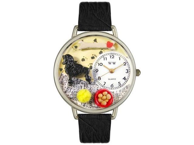 Poodle Black Skin Leather And Silvertone Watch #U0130059