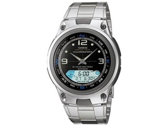 Casio Men's AW82D-1AV Silver Stainless-Steel Quartz Watch with Black Dial