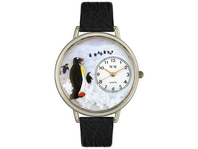 Penguin Black Skin Leather And Silvertone Watch #U0140006