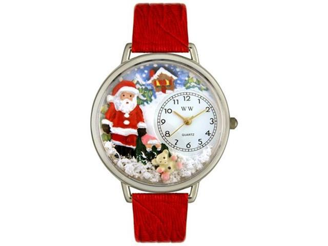 Christmas Santa Claus Red Leather And Silvertone Watch #U1220009