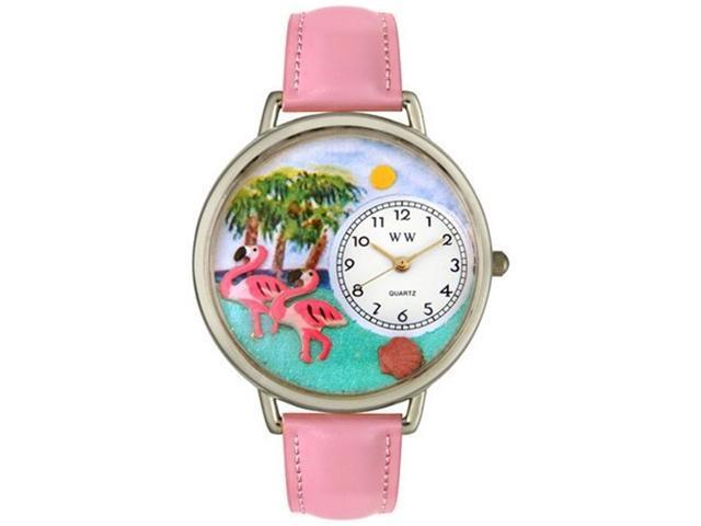 Flamingo Pink Leather And Silvertone Watch #U0150001