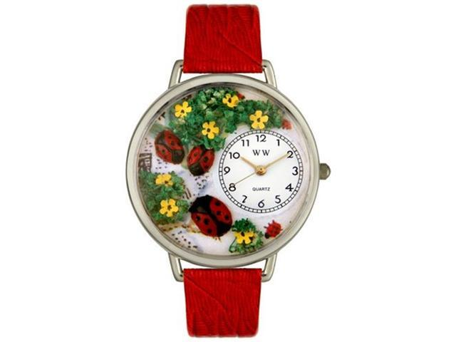 Ladybugs Red Leather And Silvertone Watch #U1210004