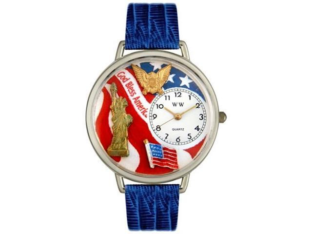 July 4th Patriotic Royal Blue Leather And Silvertone Watch #U1220022