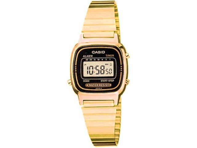 Casio Women's LA670WGA-1 Gold Stainless-Steel Quartz Watch with Black Dial