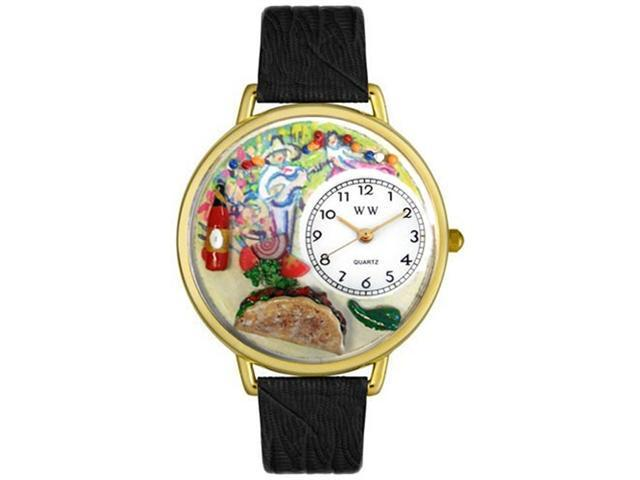 Taco Lover Black Leather And Goldtone Watch #G0310015