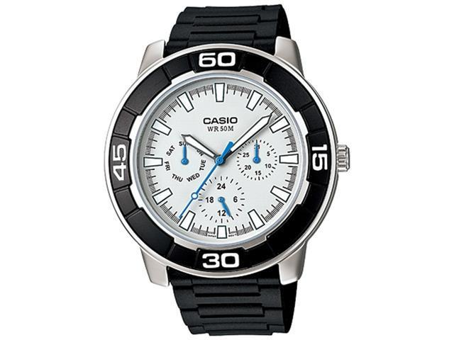 Casio Men's LTP1327-1E2V Black Resin Quartz Watch with White Dial