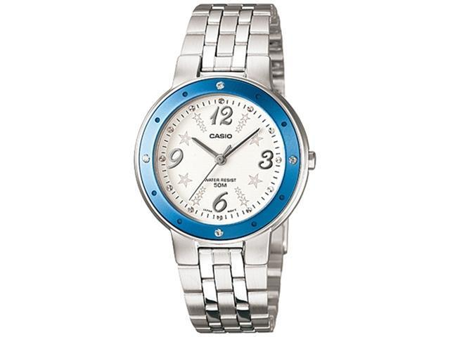 Casio Women's LTP1318D-2AV Silver Stainless-Steel Quartz Watch with White Dial