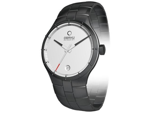 Obaku Men's V111GBWSB Black Stainless-Steel Quartz Watch with White Dial