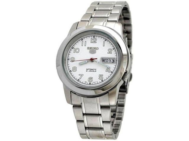 Seiko Men's SNKK33K Silver Stainless-Steel Automatic Watch with White Dial