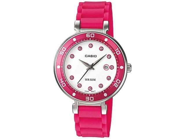 Casio Women's LTP1329-4EV Pink Resin Quartz Watch with White Dial