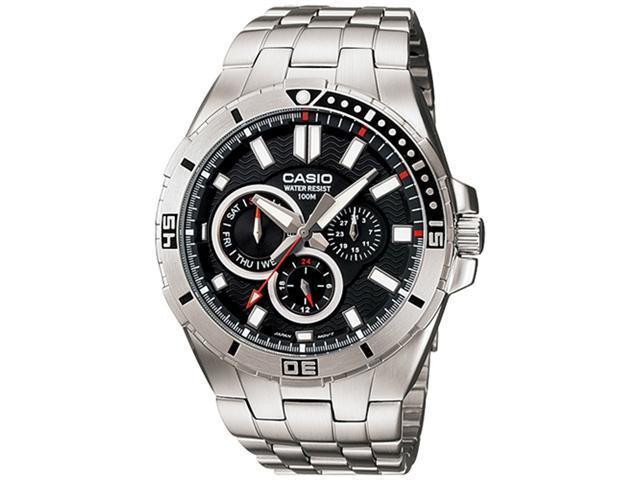 Casio Men's MTD1060D-1AV Silver Stainless-Steel Quartz Watch with Black Dial