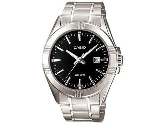 Casio Men's MTP1308D-1AV Silver Stainless-Steel Quartz Watch with Black Dial