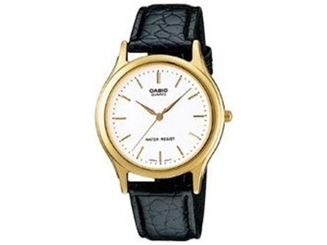 Casio Men's MTP1093Q-7A Black Leather Quartz Watch with White Dial