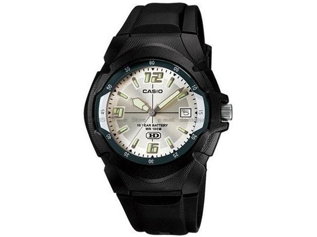 Casio Men's MW600F-7AV Black Resin Quartz Watch with Silver Dial
