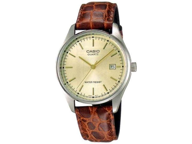 Casio Men's MTP1175E-9A Gold Leather Quartz Watch with Gold Dial