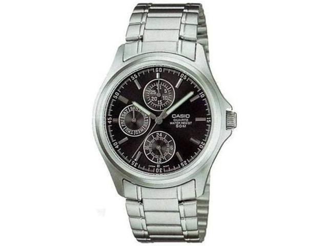 Casio Men's MTP1246D-1AV Silver Stainless-Steel Quartz Watch with Black Dial