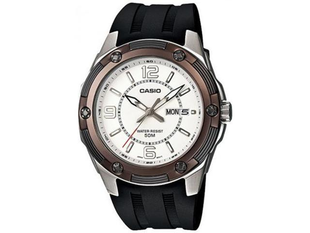 Casio Men's MTP1327-7A2V Black Resin Quartz Watch with White Dial