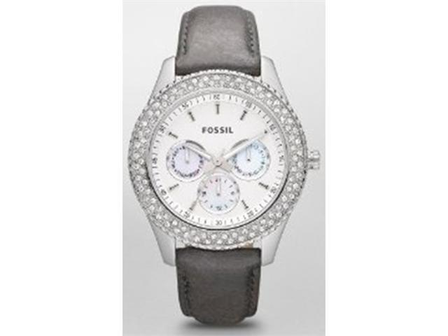 Fossil Women's ES2995 Grey Calf Skin Analog Quartz Watch with White Dial