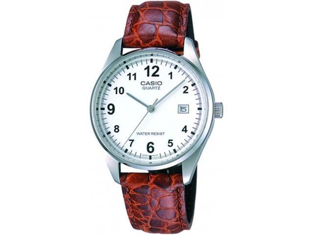 Casio Men's MTP1175E-7B Brown Leather Quartz Watch with White Dial