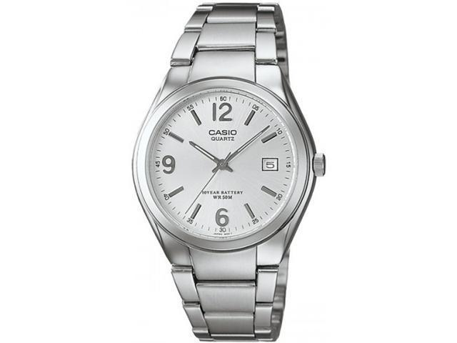 Casio Women's MTP1265D-7AV Silver Stainless-Steel Quartz Watch with White Dial