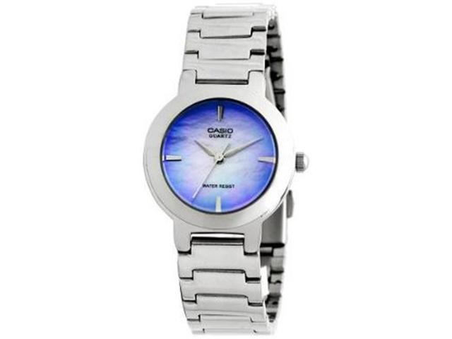 Casio Women's LTP1191A-2C Silver Stainless-Steel Quartz Watch with Blue Dial