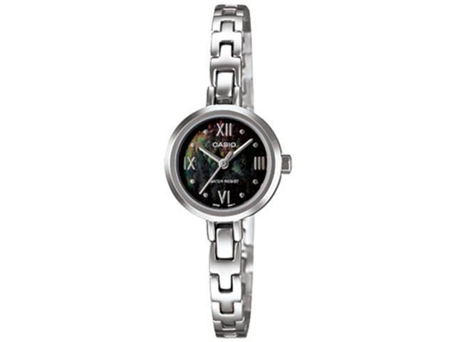 Casio Women's LTP1352D-1A Silver Stainless-Steel Quartz Watch with Black Dial