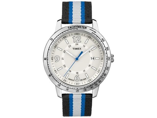 Timex Men's Weekender T2N754 Black Nylon Quartz Watch with Blue Dial