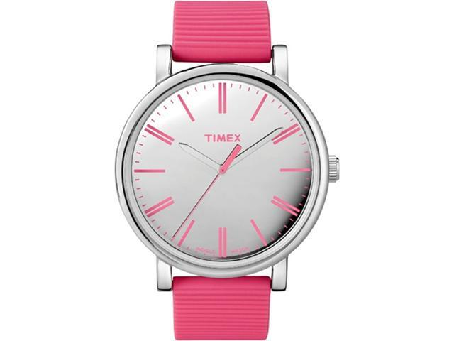 Timex Women's Easy Reader T2N789 Pink Nylon Quartz Watch with Silver Dial