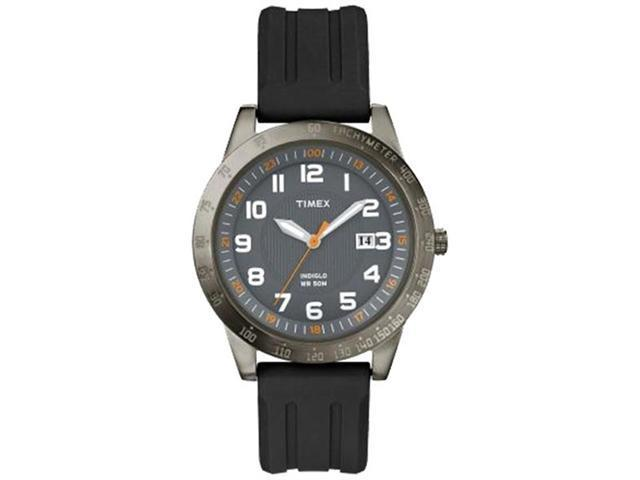 Timex Men's Sport T2N919 Black Rubber Quartz Watch with Grey Dial