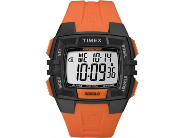 Timex T49902 Men's Chrono Alarm Timer Orange Resin Quartz Watch with Digital Dial