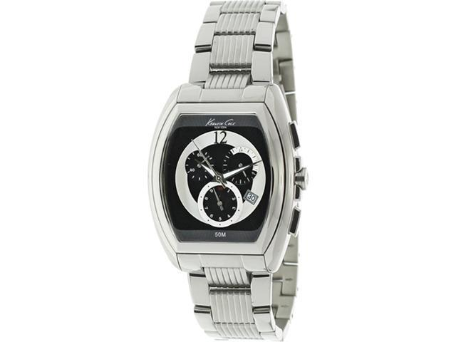 Kenneth Cole Unisex KC9164 Silver Stainless-Steel Quartz Watch with Black Dial