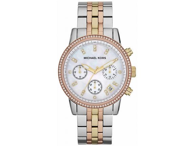 Michael Kors Ritz Chronograph Pearl Dial Tricolor Steel Ladies Watch MK5650