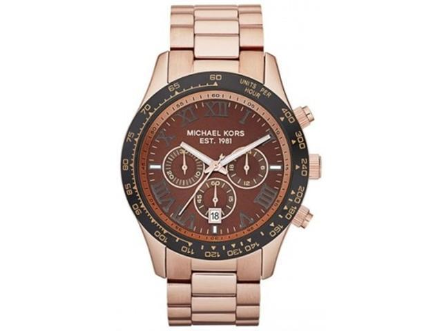 Michael Kors Men's Layton MK8247 Gold Stainless-Steel Quartz Watch with Brown Dial