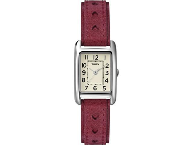Timex Women's Country Club T2N906 Red Calf Skin Quartz Watch with White Dial