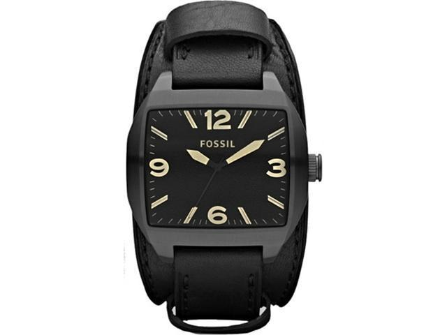 Fossil Men's Roland JR1386 Black Leather Analog Quartz Watch with Black Dial