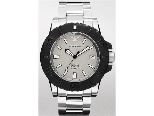 Emporio Armani Men's Sport AR5970 Silver Stainless-Steel Quartz Watch with Silver Dial