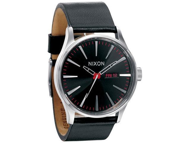 Nixon Men's Sentry A105000-00 Black Leather Quartz Watch with Black Dial