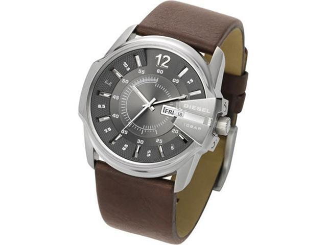 Mens Diesel Grey Dial Brown Leather Strap Watch DZ1206