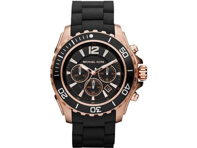 Michael Kors Men's MK8269 Black Silicone Quartz Watch with Black Dial