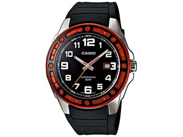 Casio Men's MTP1347-1AV Black Resin Quartz Watch with Orange Dial