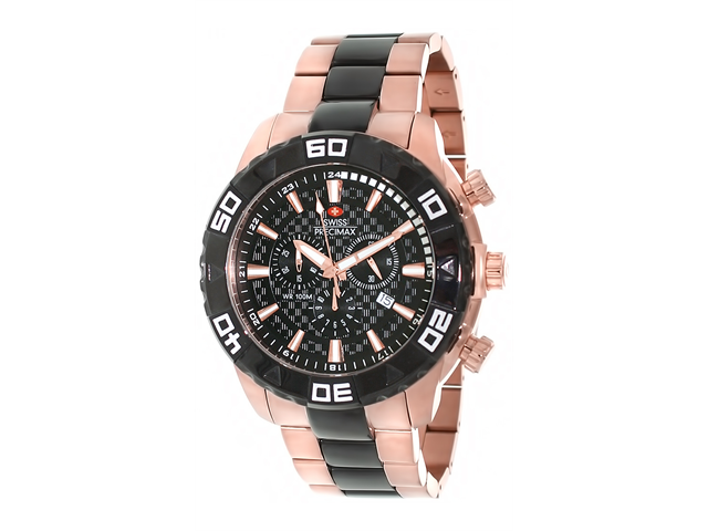 Swiss Precimax SP12055 Men's Valor Elite Rose-Gold Stainless-Steel Swiss Chronograph Watch with Black Dial