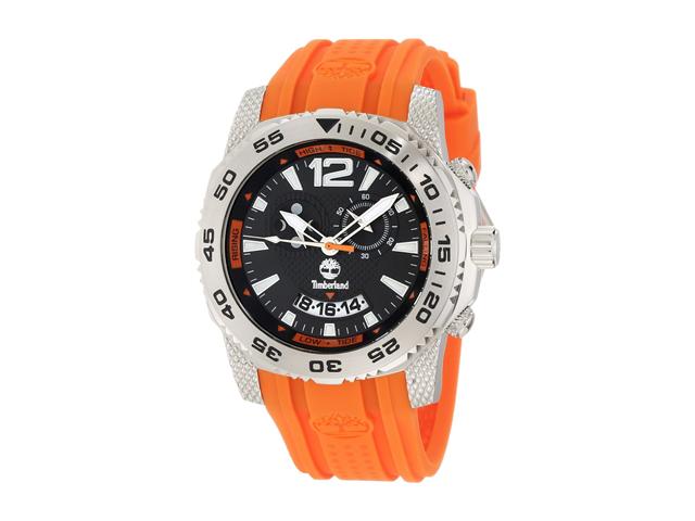 Timberland Men's Hydroclimb 13319JS/02A Orange Plastic Quartz Watch with Black Dial