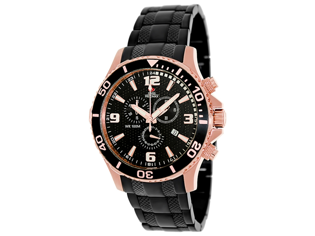 Swiss Precimax SP13230 Tarsis Pro Men's Black Dial Stainless Steel Chronograph Watch