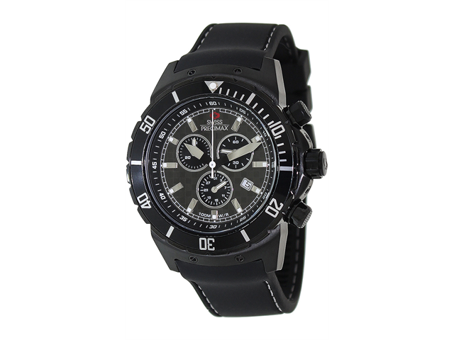 Swiss Precimax Pursuit Pro SP13283 Men's Sports Black Silicone Chronograph Watch with Grey Dial