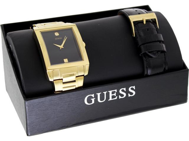 Guess Men's U0206G1 Gold Stainless-Steel Quartz Watch with Black Dial