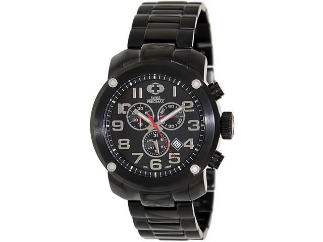 Swiss Precimax SP13013 Men's Marauder Pro Black Stainless-Steel Swiss Chronograph Watch with Black Dial