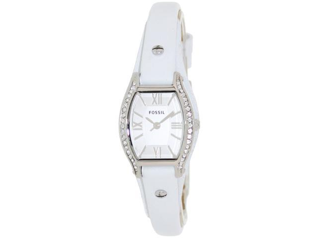 Fossil Women's Molly ES3288 White Leather Quartz Watch with Silver Dial
