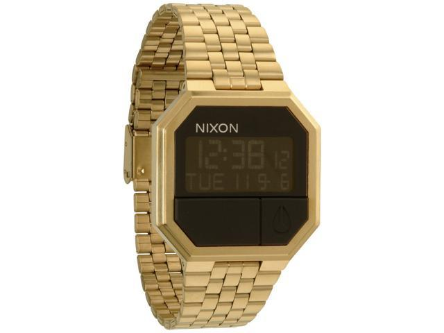 Nixon Men's Re-Run A158502-00 Gold Stainless-Steel Quartz Watch with Digital Dial