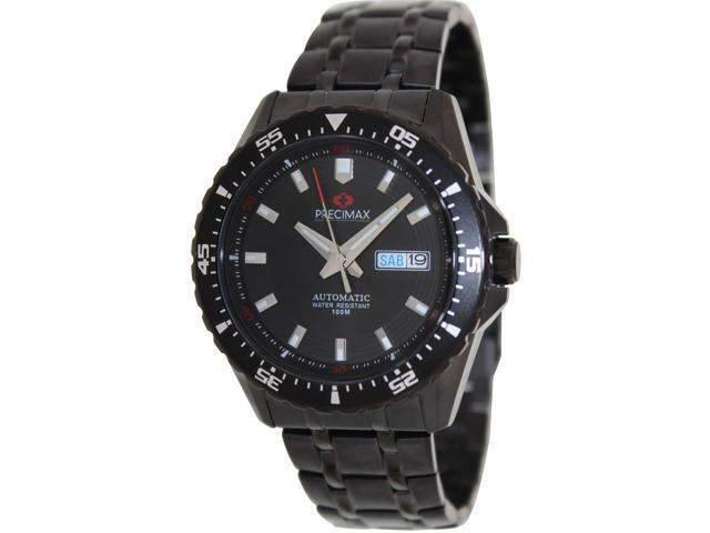 Swiss Precimax PX13203 Men's Vintage Automatic Black Stainless-Steel Automatic Watch with Black Dial